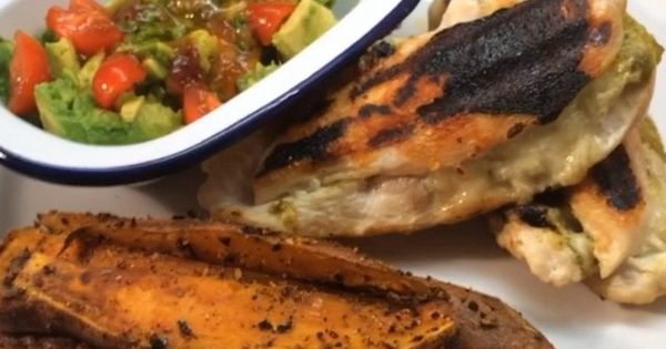 The Body Coach:Chicken pesto & mozzarella with sweet potato wedges and Avocado