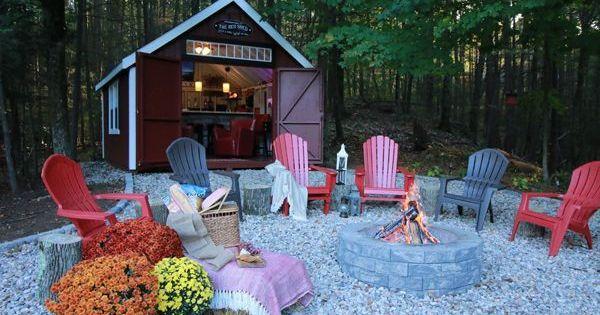 Pub Shed Shedtips Backyard Sheds Fire Pit Backyard Shed Makeover