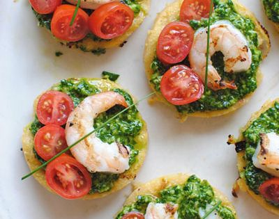 ... with Shrimp and Spinach Pesto | Recipe | Spinach, Polenta and Shrimp