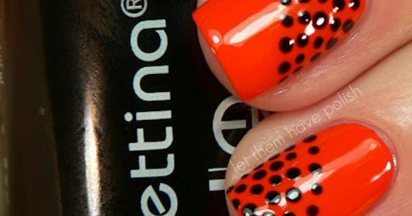 Looks easy enough: red and black polka dot manicure nailart nails dots