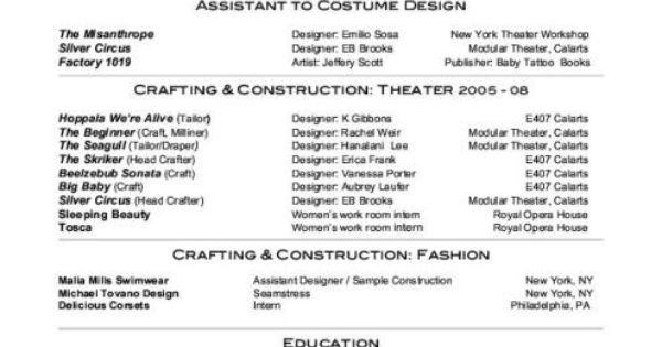 costume design template resumes     resumecareer