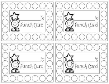 Punch Cards Freebie Behavior Punch Cards Classroom Behavior Management Punch Cards