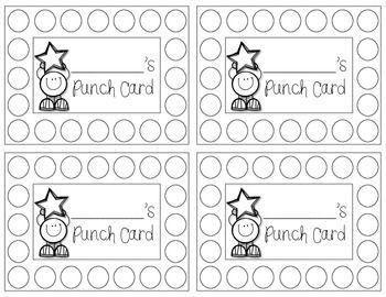 Punch Cards Freebie Behavior Punch Cards Classroom Behavior Management Punch Cards