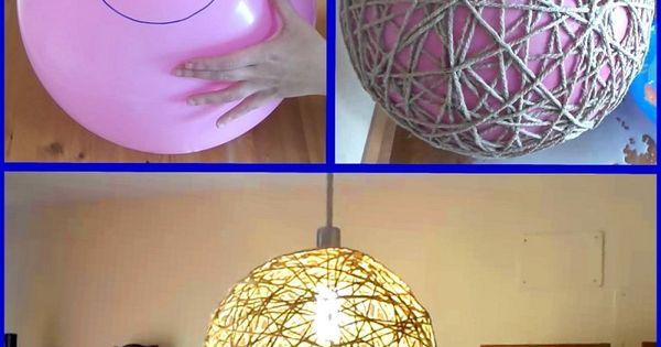 C mo se hace la famosa l mpara de cuerda con un globo - Manualidades con lamparas ...