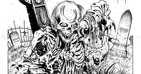 Zombie Graveyard Drawing Lineart Skeletons Amp Zombies