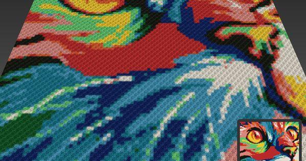 Knitting Pattern Cat Blanket : Chromatic Cat crochet blanket pattern; knitting, cross stitch graph; pdf down...