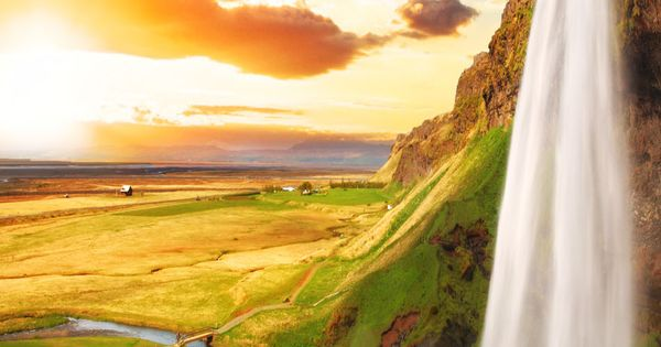 Scenic Waterfall, Iceland - Seljalandsfoss