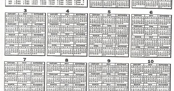 Year Calendar Look : Perpetual calendar to look for the year you