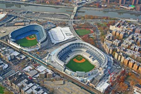 The Old And The New Yankee Stadium Baseball Stadium Mlb Stadiums Yankee Stadium