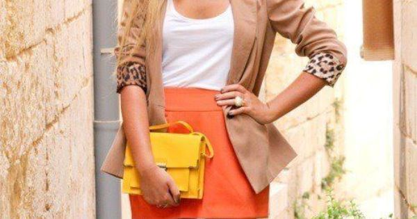 nude blazer + pop color skirt and accessories