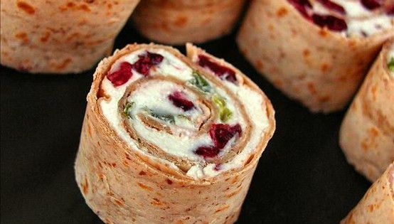 Perfect Christmas Appetizers - Cranberry, Feta, Cream Cheese, & Green Onion Roll