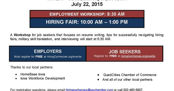 Hiring Our Heroes employment event at RiverCenter in Davenport on - resume writing workshop
