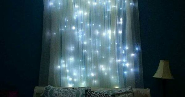 Lighted headboard canopy Dream bedroom Pinterest Spotlight, Starry nights and String lights