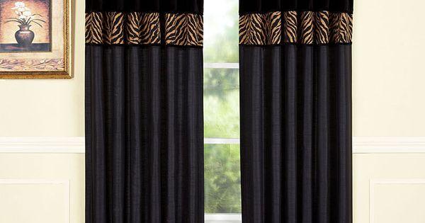 Black Amp Tan Zebra Curtain Panel Window Treatments