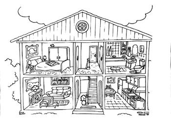 Here Is A Great Template Of A House You Can Use For Multiple Things You Can Use It As A Vocabu House Colouring Pages Free Coloring Pages Barbie Coloring Pages
