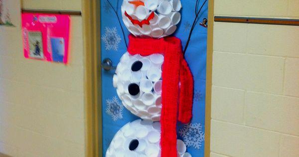 snowman door decorations | 3d snowman classroom door decoration