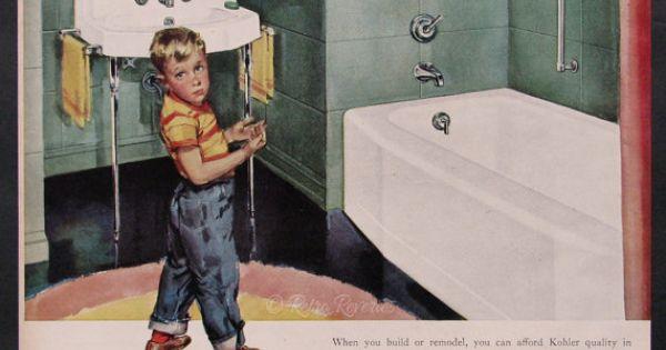 Vintage 1953 Kohler Ad 1950s Bathroom Plumbing Green