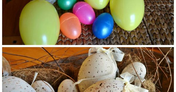 Speckled Easter egg craft with spray paint for kitchen basket instead of