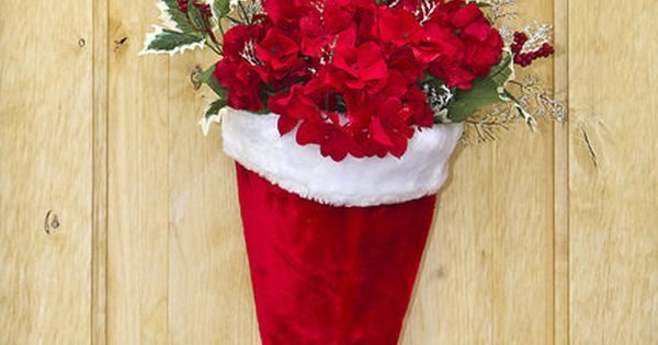 DIY Santa Hat Door Hanging with Flowers ~ beautiful decoration for the