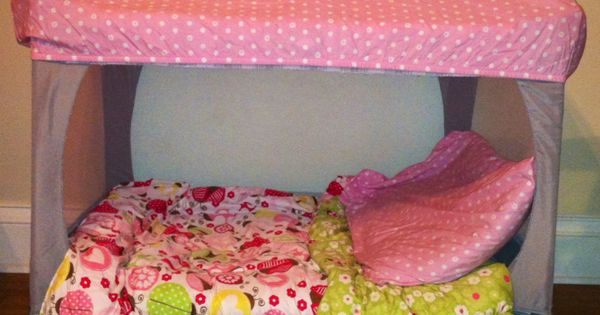 Pack n play - cut out mesh sides, fitted sheet on top