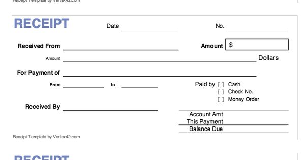 cash receipt template form    exampleresumecv org  cash