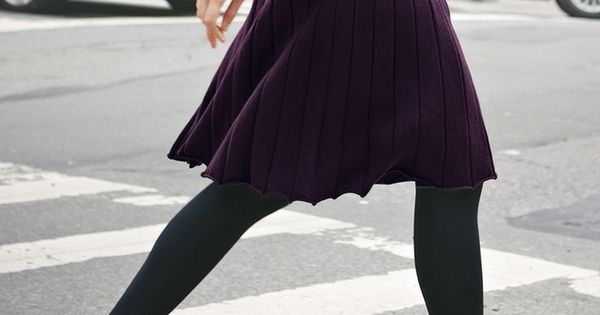 Purple skirt and black tights