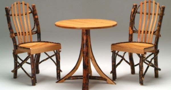Round Log Dining Table Small Hickory Cabin Furniture Woodland