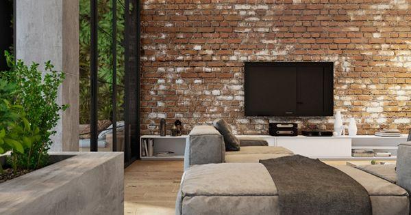 ziegel in einem wohnzimmer mit aussicht auf die natur Pinterest - Wandgestaltung Wohnzimmer Grau Lila