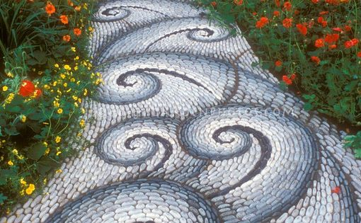 Swirling Sinuous Stone Garden Pathway - Stone walkway in the garden leading