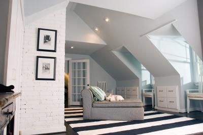How To Decorate An Upstairs Bonus Room With Dormers Sloped