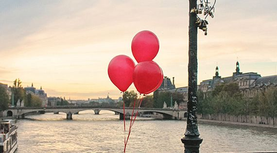 Red Balloons in Paris, Sunset on the Pont des Arts, Paris Photography,
