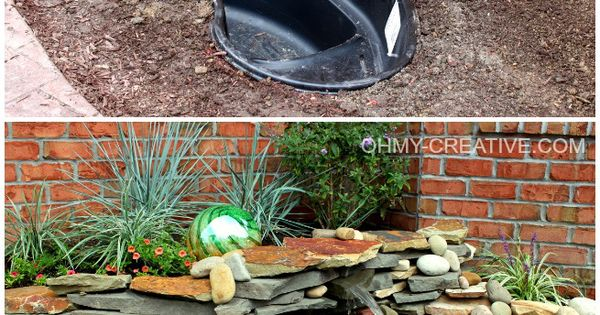 OHMY-CREATIVE.COM- DIY Backyard pond and water feature
