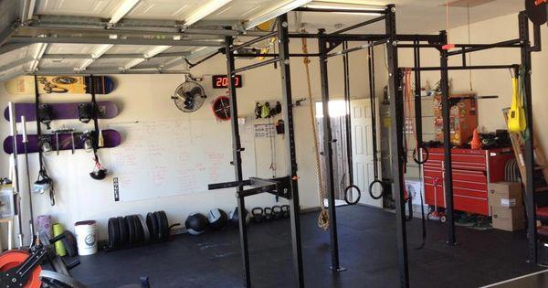 A spacious garage gym we like the matador dip bar