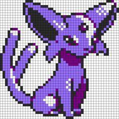 Espeon Pokemon Sprite Kandi Pattern Pixel Art Pokemon Pokemon Cross Stitch Pixel Art Templates