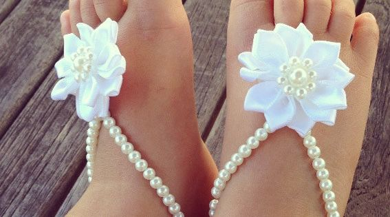 PRECIOUS!! Baby barefoot sandals , baby girl, baby shoes ,baby jewelry ,baptism