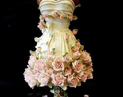 A Dress Cake of pink roses