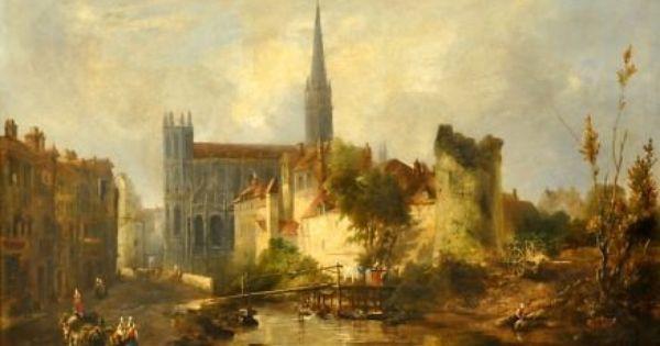 Vue De L Eglise Saint Pierre De Caen Tableau De William Fowler Eglise Saint Pierre Peinture Paysage Eglise