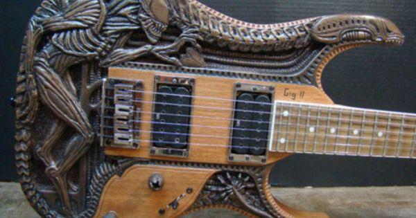 Hand Carved Alien Guitar Guitar Cool Guitar Guitar Design