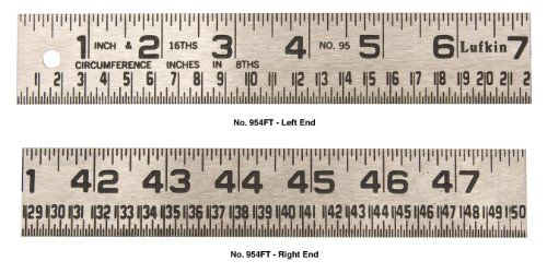 Lufkin 954ft 1 1 4 Inch By 4 Foot Tinner Foot Steel Circumference Rule Tempered Medium Weight Steel One Side Upper Edge Mar Lufkin Metal Working Easy Reading