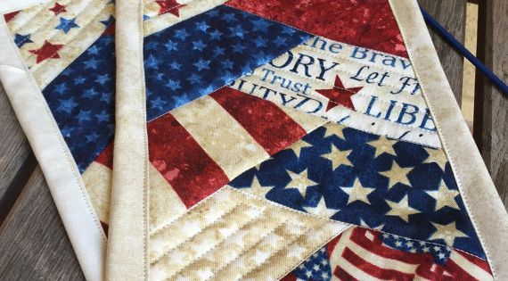 one patriotic mug rug in red white and blue patriotic independence day candle mat 4th of. Black Bedroom Furniture Sets. Home Design Ideas