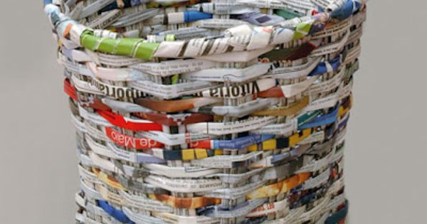Recycled newspaper waste basket cool recycled stuff pinterest recycle newspaper and newspaper - Cool wastebaskets ...