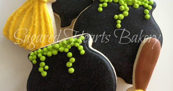 Sparkly Witch Halloween Cookies by SugaredHeartsBakery on Etsy Repinned By: TheCookieCutterCompany