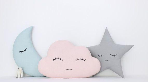 Conjunto de nubes luna y estrellas almohadas los ni os los ni os de almohadas cojines - Almohada mimos ...
