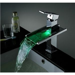 Colour Changing Waterfall Tap Contemporary Led Bathroom Basin Faucet Brass Single Holes Single Handle Sink Faucets Bathroom Sink Faucets Bathroom Sink Taps