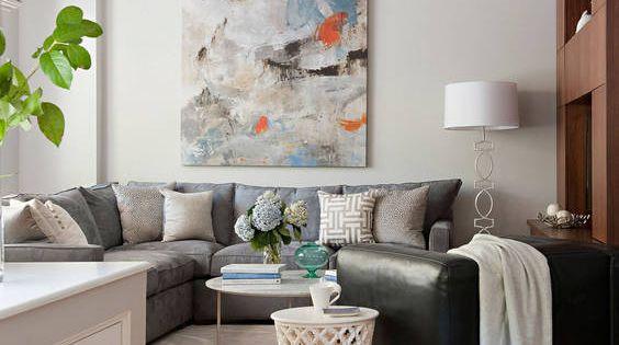 Wohnideen Wohnzimmer Graues Sofa : wohnzimmer wand kunst graues sofa ...