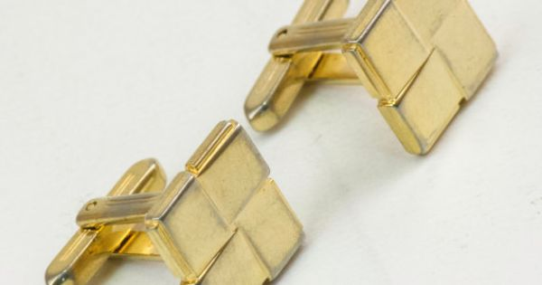Vintage Cufflinks Interlocking Art Deco Squares by CuffsandClips, $17.60