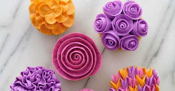 Make these spring cupcakes using decorating tip 104