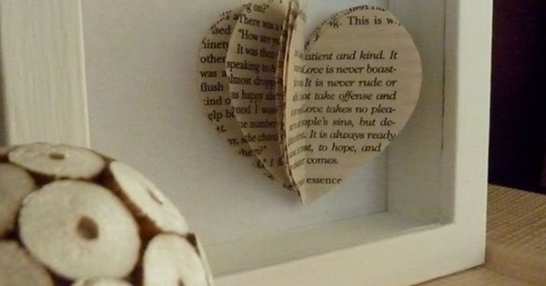 DIY Heart Story. Get shadowbox type of frame. Print off quote onto
