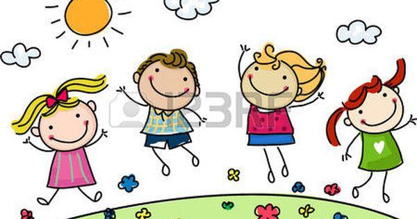 Bambini Stilizzati Saltando Bambini Felici Disegni Bambini Immagini Disegno Per Bambini