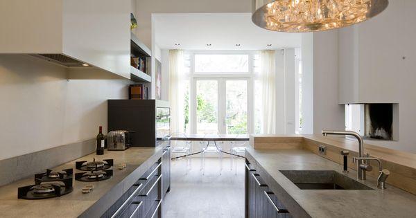Moderne zwarte keuken met betonnen aanrechtblad een for Interieur van nu
